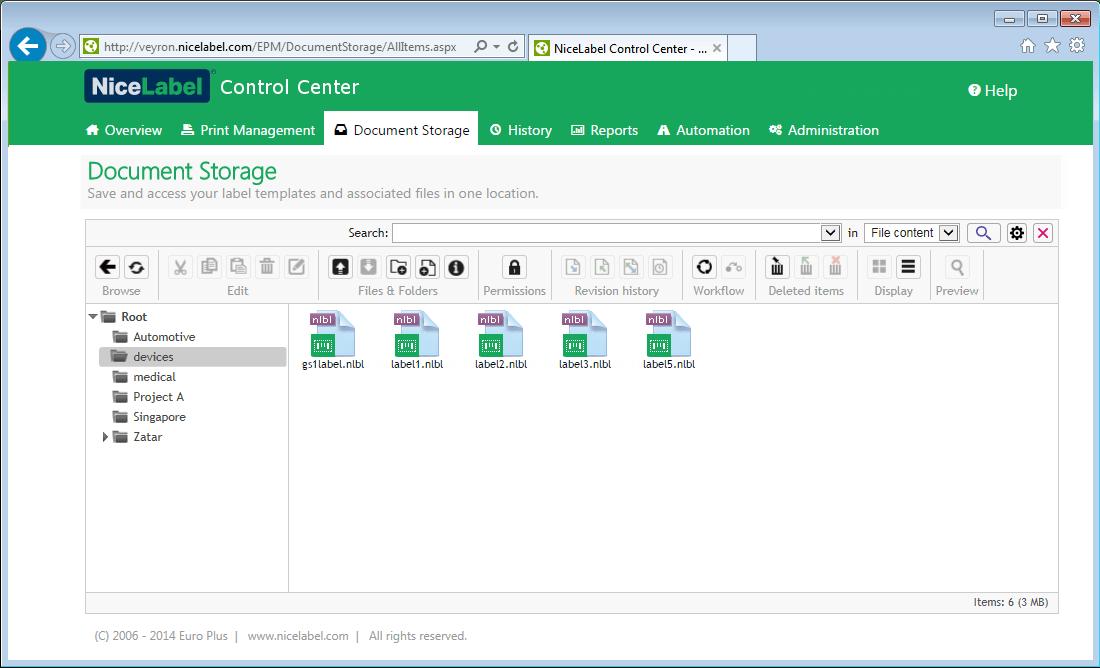 NiceLabel document management